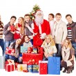 Group and  Santa. - Stock Photo