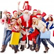 Stock Photo: Group and Santa.