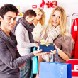 Shopping women at Christmas sales. — Stockfoto