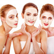 Group women with facial mask. — Stock Photo #16055051