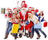 Group and Santa. — Stock Photo