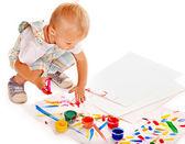 Kind schilderij van vinger verf. — Stockfoto