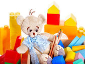 Children toys with teddy bear and cubes. — Foto de Stock