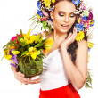 Happy woman with flower. — Stock Photo #18933601