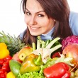 Woman with group of fruit and vegetables. — Stock Photo #18933643