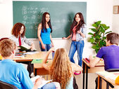 Group student near blackboard. — Foto de Stock