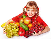 Child with group fruit and vegetable. — Stock Photo