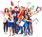 Group student with notebook. — Foto de Stock