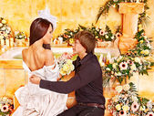 Couple spend wedding night. — Stock Photo