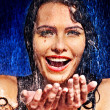 Royalty-Free Stock Photo: Wet woman face with water drop.