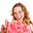 Young woman holding flower. — Stock Photo