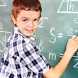 School child writting on blackboard. — Stock Photo #19216979
