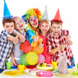 Birthday party group of child with cake. — Stock Photo