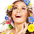 Happy woman with flower. — Stock Photo
