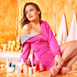 Stock Photo: Woman relaxing at home bath.