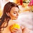 Woman using bath sponge in bathtub. — Stock Photo #19217719