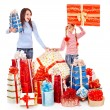 Happy family with child and group gift box. - Stock Photo