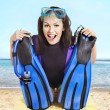Girl wearing diving gear. — Stock Photo #19219807