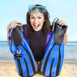 Girl wearing diving gear. - Stock Photo