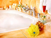 Bathroom interior with bubble bath. — Stock Photo