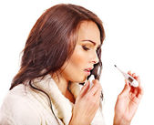 Woman having flue taking thermometer. — Stock Photo