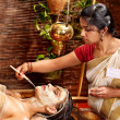Stock Photo: Woman having mask at ayurveda spa.