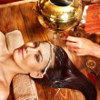 Woman having Ayurvedic spa treatment. — Stock Photo #19997645
