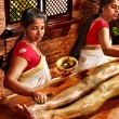 Woman having Ayurvedic feet spa massage. - Foto Stock