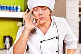 Male wearing chef uniform. — Stock Photo