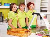 Group at cafeteria. — Stockfoto