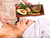 Woman getting facial mask in spa . — Stok fotoğraf