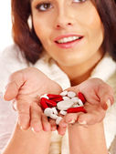 Young woman having flu takes pills. — 图库照片