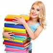 Student with stack book. — Stock Photo