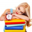Tiredness student sleeping on book. - Stock Photo