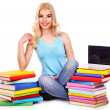 Student with stack book. — Stockfoto