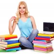 Stockfoto: Student with stack book.