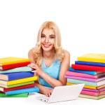 yığın kitap ile öğrenci — Stok fotoğraf