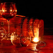 Royalty-Free Stock Photo: Two wine glass and candle on dark