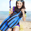 Girl wearing diving gear. — Stock Photo #21053439