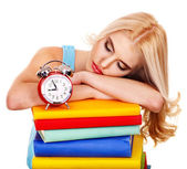 Tiredness student sleeping on book. — Stock Photo