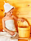 Child relaxing at sauna. — Stock Photo