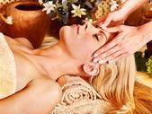 Woman getting facial massage . — ストック写真