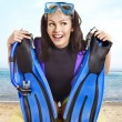 Girl wearing diving gear. — Stock Photo #21368135