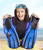 Girl wearing diving gear. — Photo