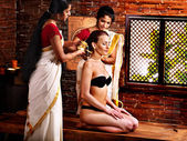 Woman having ayurveda spa treatment. — Stock Photo