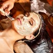 Stock Photo: Womhaving mask at ayurvedspa.