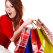 Expression girl with shopping bag. — Stock Photo #2284291