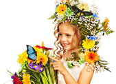 Child with flower hairstyle. — Stock Photo