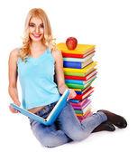 Student mit Stack-Buch. — Stockfoto