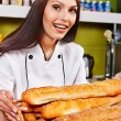 Female chef holding food. — Stock Photo #22900996